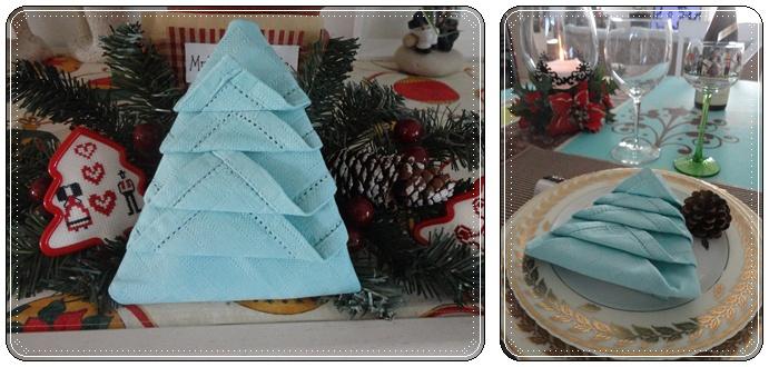 Pliage de serviettes le sapin de no l la guillaumette - Pliages de serviettes pour noel ...