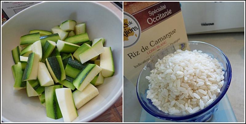 Ajouter dans la cuve, les courgettes, les tomates, le riz, le sachet  d épices, le vin blanc et l eau. Bien mélanger le tout. 517d557d68a